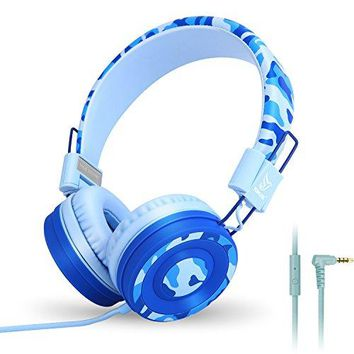 Yomuse C89 On Ear Foldable Headphones w/ Microphone, Adjustable Headband for Kids Adults, iPhone iPad iPod Computers Tablets SmartPhones DVD, Camo Blue