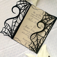 gothic spider web halloween wedding invitation gatefold DIY kit spooky love heart party
