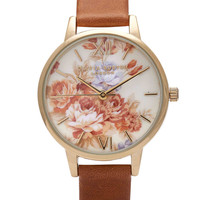 Olivia Burton Wonderland Flower Show Watch - Tan & Floral in To-Be-Confirmed