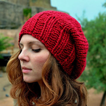 Womens Knit Hat, Womens Winter Slouchy Hat, Womens Fashion, Fall Fashion, Red Burgundy Slouch Beanie Hat