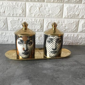 Fornasetti Candle Holder Diy Handmade Candles Jar Retro Lina Face Storage Bin Ceramic Caft Home Decoration Jewerlly Storage Box