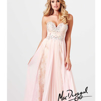 (PRE-ORDER) Mac Duggal 2014 Prom Dresses - Ice Pink Lace Applique Pleated Prom Dress