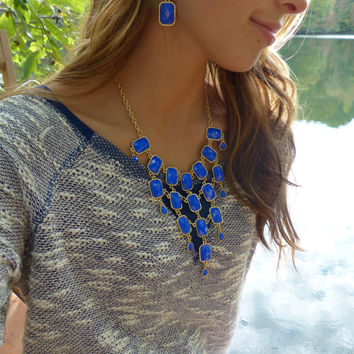 Bright Blue, Cobalt Blue Rectangle  Bib Statement Necklace and Gold Rectangle Bib Statement Necklace, Geometric Necklace