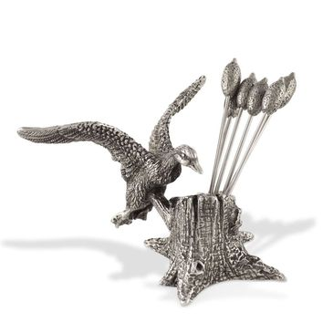 Pewter Mallard Duck Cheese Pick Set