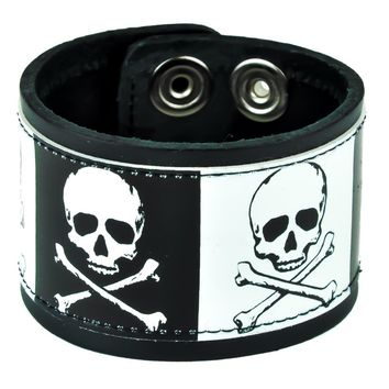 "Black & White Skull & Crossbones Leather Wristband Cuff Bracelet 2"" Wide"