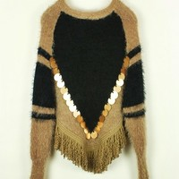 handmade color block tassel women's sweater casual