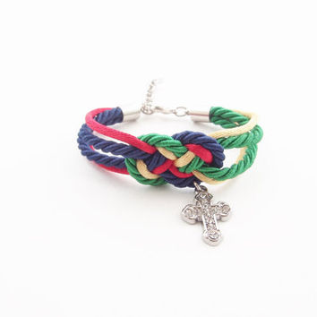 Nautical rope bracelet , cross bracelet , sailor knot bracelet , tie the knot , nautical rope