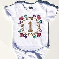 Girls First Birthday Shirt - Girls First Birthday Outfits - Girls Glitter Shirt - Baby Girl Bodysuit - Creeper - Customizable