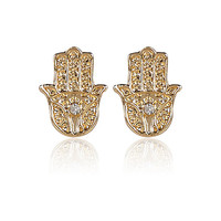 River Island Womens Gold tone rhinestone hamsa stud earrings