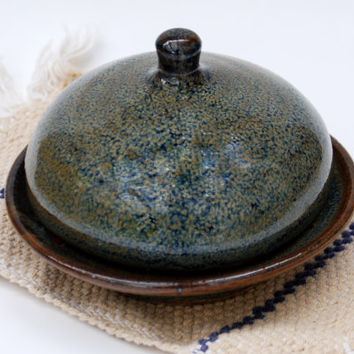 brown Blue Handmade pottery ceramic butter dish with lid. Round Pottery Butter dish. Pottery and ceramics Butter dish.