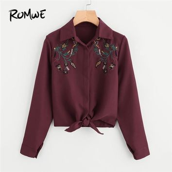 ROMWE Womens Tops and Blouses Burgundy Crop Tops Ladies Blouses 2018 Embroidery Knotted Hem Shirt Female Floral Shirts Blouse