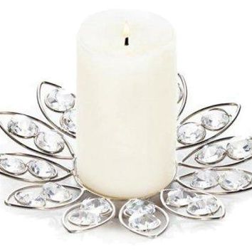 Iron Crystal Flower Candle Holder