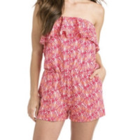 NWT Vineyard Vines Shell Ruffle knit romper in Pink Tulip, pink and orange, SZ L