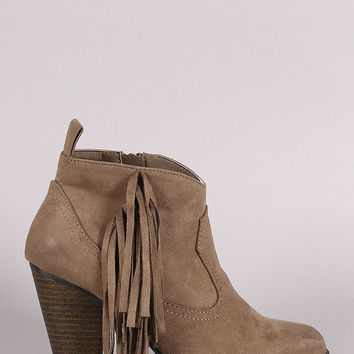 Qupid Suede Side Fringe Chunky Heeled Ankle Boots
