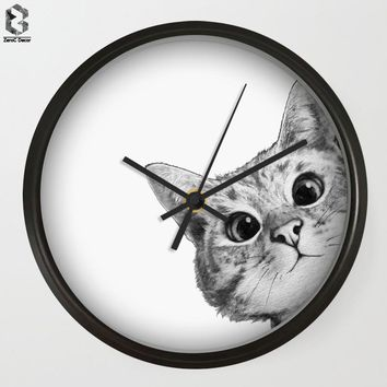 Modern Art Wall Clocks Cute Cat Peeking Out