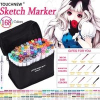 TOUCHNEW Marker Professional Art Markers Set Double-headed Alcohol based Markers Art Hand-painted For School Supplies