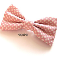 Girl/Women Bow Tie, Pink With White Polka Dots in 100% Premium Cotton For Boys, Men/Teen, Toddler, Infant
