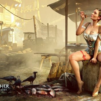 Witcher 3 Wild Hunt sexy smoking woman PSG114 custom print fabric poster wall decor room decor home decoration (frame available)