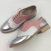 Genuine Leather US Size Handmade Color Matching Flat Shoes