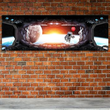 Space Station Window View Earth Astronaut Red Balloon Framed Canvas Wall Art