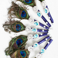 Peacock Feather Wedding Brooch Boutonnieres Set of 7