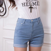 New Korean Style High Waisted Jeans Shorts