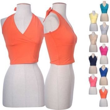 Sexy V Neck Crossover Front Halter Cropped Tie Closure Fitted Shirt Crop Top