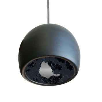 LED Geode Gem & Porcelain Mini Matte Black Clay Pendant Light