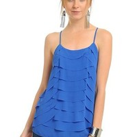 Lauri Scalloped Tank in Blue