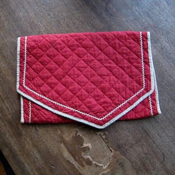 Shabby Chic Rose Print Vintage Lingerie Keeper or Envelope Style Cherry Red Hose/Hankie/Lingerie Bag w/ Ric Rac Trim; U.S. Shipping Included