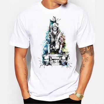 Summer new men 's tops personality hip - hop teen printing short - sleeved round neck T - shirt