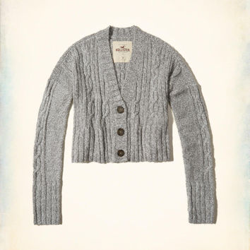 Girls Crop Cable Cardigan | Girls Tops | HollisterCo.com