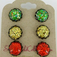Trio Antiqued Gold-tone Metallic Glitter Resin Stud Earrings 12mm Fiery Red Yellow Green Mix Set