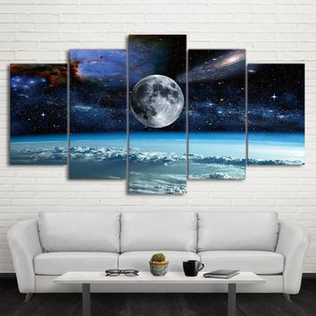 Space Universe Stars Earth Wall Art on Canvas Print Poster Wall Decor Framed Unframed