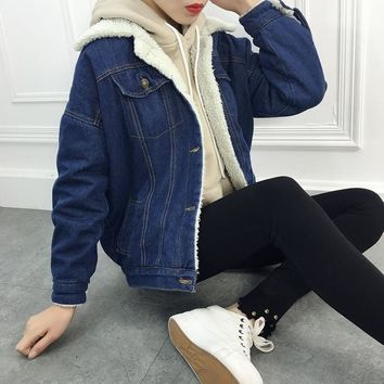 ZOGAA S-2XL Women Jacket Coats Denim Jeans Jacket Thick Warm Clothes Solid Autunm Winter Outerwear Cowboy Coat for Women