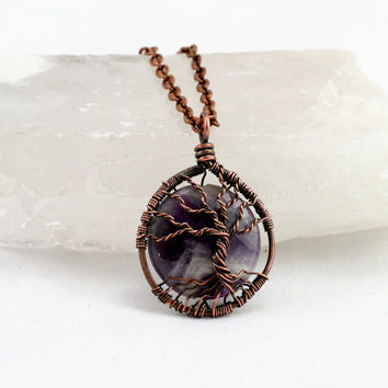 Chevron Amethyst Tree of Life Wire Wrapped Gemstone Cabochon with Sterling Silver Chain