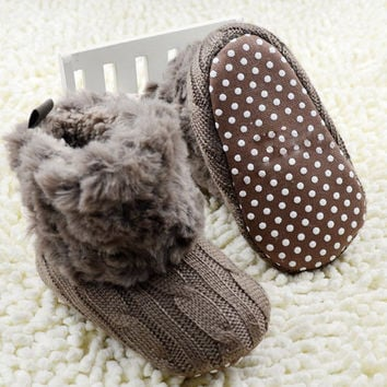 2016 New Warm First Walkers Winter Baby Ankle Snow Boots Infant Crochet Knit Fleece Baby Shoes For Boys Girls