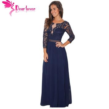 Dear Lover Elegant Long Dress Womens Autumn Navy Black Lace Crochet Quarter Sleeve Maxi Dress Vestidos Longo Robe Female LC61794