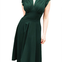 Green V Neck Midi Dress