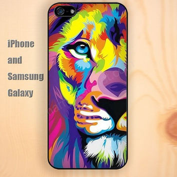 Watercolor lion animal iphone 6 6 plus iPhone 5 5S 5C case Samsung S3,S4,S5 case Ipod Silicone plastic Phone cover Waterproof