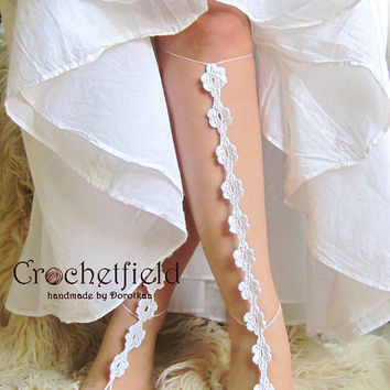Sexy crochet barefoot sandals, knee high, gladiator boots, long, lace, beach, pool, leggings, wedding Nude shoes, Foot jewelry, Bride