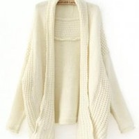 Beige Bat Sleeve Knitting Cardigan - Designer Shoes|Bqueenshoes.com