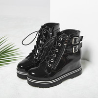 Lace Up Buckle Zipper Platform Wedge Short Boots 8619