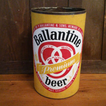 Vintage Metal Ballantine Beer Trash Can Waste Basket