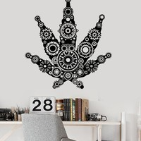 Vinyl Wall Decal Weed Marijuana Hippies Hemp Cannabis Rastafarian Stickers Unique Gift (ig3273)