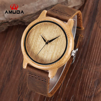 2016 Fashion Japan Movement Bamboo Wooden Wristwatches Simple Dial Genuine Leather Wood Watch With Box Unisex Christmas Gifts