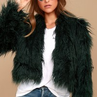 Keepsake Aurora Forest Green Faux Fur Coat