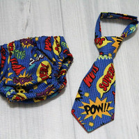Neck Tie and Diaper Cover set. Comic Words. Super Hero. Baby Boy Birthday Cake Smash Set. Church, Wedding Tie