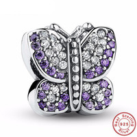 BUTTERFLY PURPLE CZ Bead / Charm 925 Sterling Silver Authentic fit Pandora Bracelet