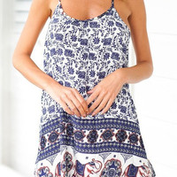 Blue Bohemian Print Spaghetti Strap Dress